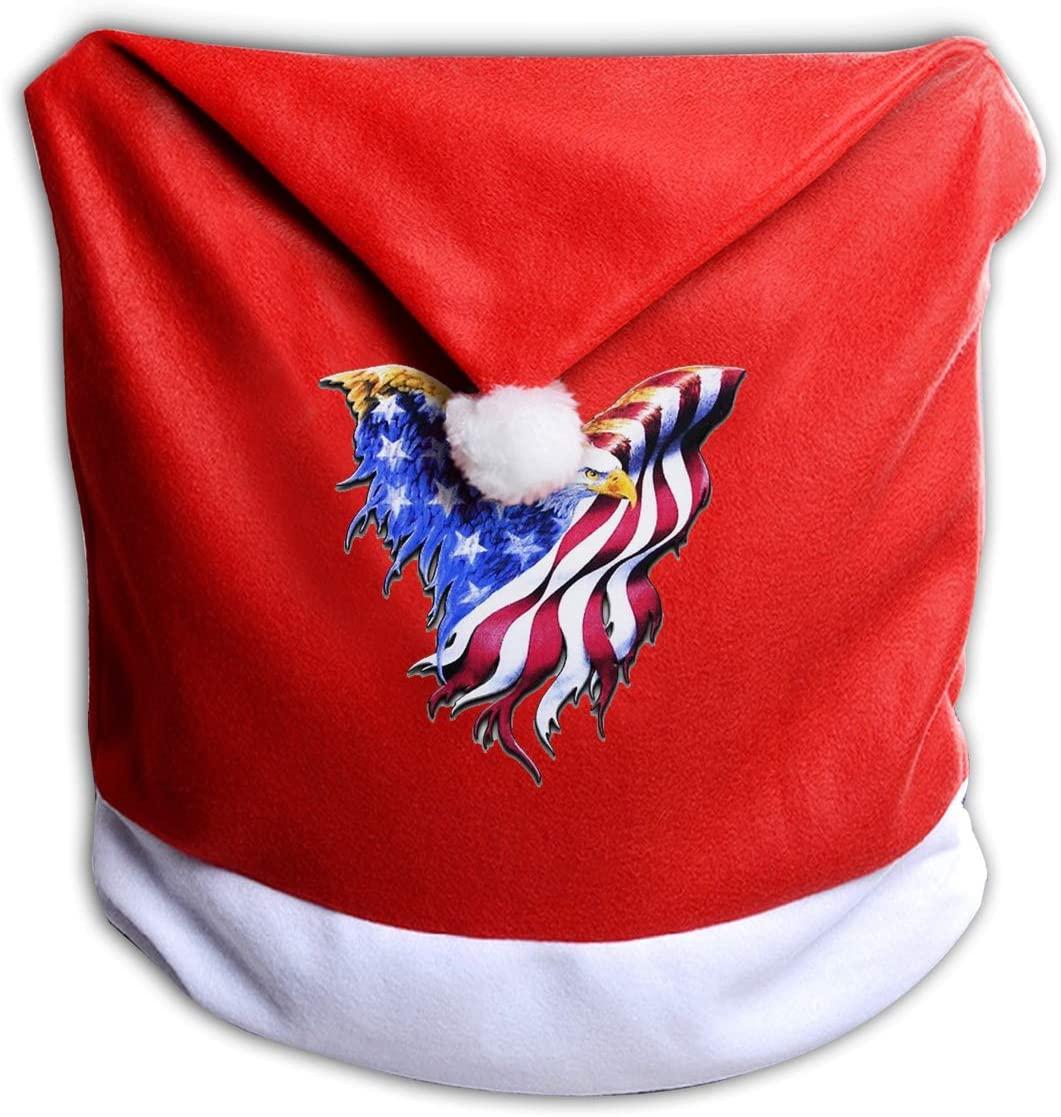 ZHANGBAOSHENG Bald Eagle American Flag Christmas Seat Cover Christmas Chair Cover Santa Hat Chair Covers
