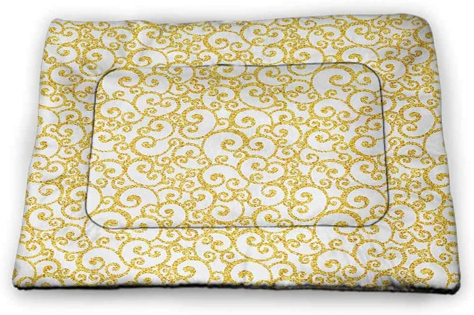 DayDayFun Victorian Cute Pet Mat Floral Ivy Swirls in Golden Yellow Shade Antique Motif Inspired Art Print Pet Mats for Food and Water Yellow and White