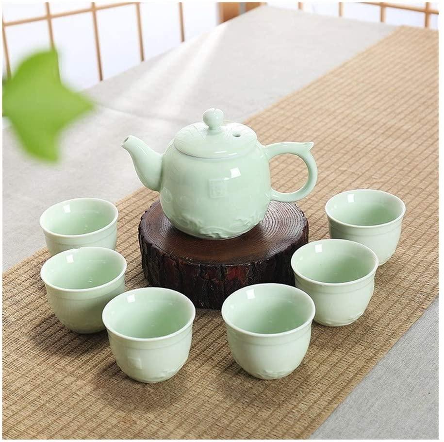 XinQuan Wang Kung Fu Tea Set household simple celadon pot of six cups of tea clouds home (Color : Green)