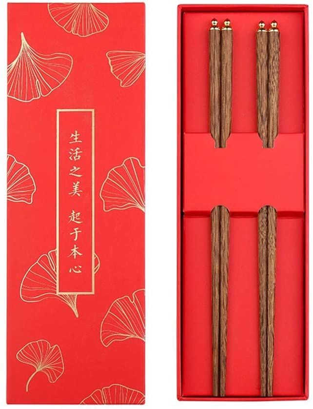 Mihaojianbing Chopsticks - Chicken Wing Wood/Copper, Chinese High-end Gift Chopsticks, A Set of High-end Tableware, Anti-Slip/Anti-Mold (Length: 25 cm) Polishing Technology