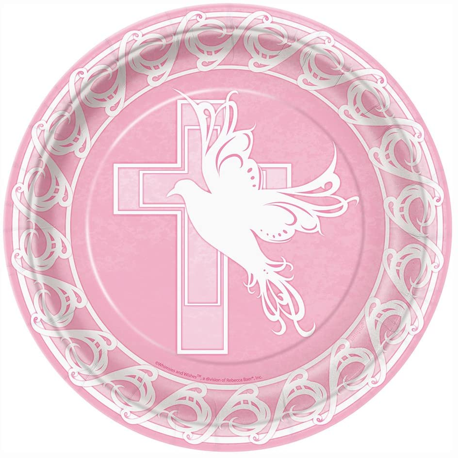 Pink Dove Cross Religious Dinner Plates, 8ct