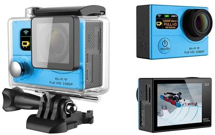 Zhengtufuzhuang Dual Screen Displays Hd WiFi Outdoor Waterproof Camera, Diving Cycling DV, 170-degree Wide-Angle Lens, Blue, Size 59x41x21mm Transparent Fiber (Color : Blue)