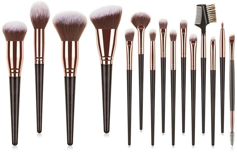 N/V 15PCS Makeup Brush Set, Face Makeup Brushes, Professional Makeup Brushes, Eye Powder Cream Cosmetic Brushes Kit (Gold)