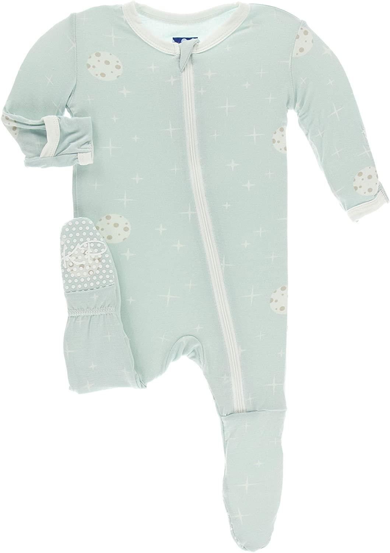 KicKee Pants Print Footie with Zipper (6-9 Months, Spring Sky Full Moon)