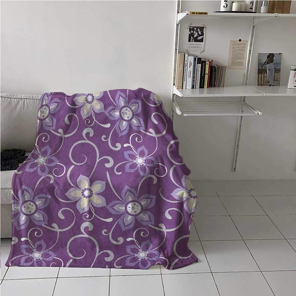 Soft Blanket Beautiful Lilacs with Leaves Sticking Out of Them in Soothing Purple Background All Seasons Thin Quilt to Keep Adults, Children, Warm on Cool Nights Purple White 30 x 50 Inch