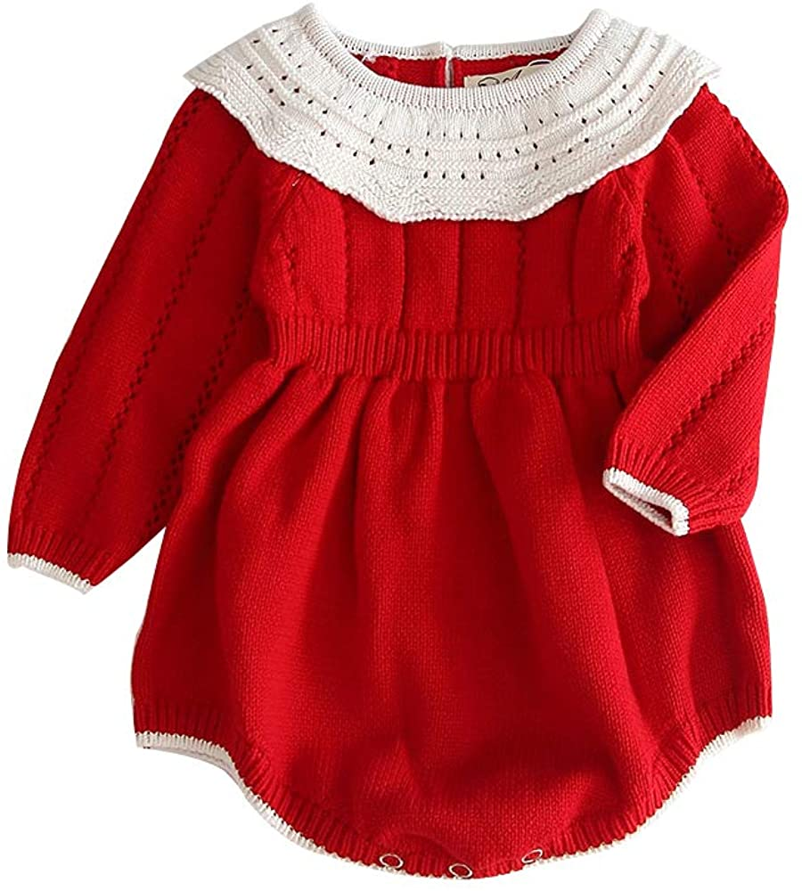 Toddler Baby Girl Knitted Romper Jumpsuit Winter Outfit Onesie Long Sleeve Button Warm Bodysuit Clothes Set Sweaters Clothing