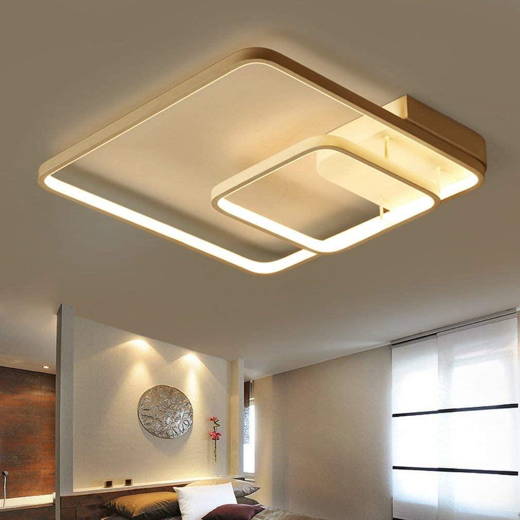 BOSSLV Led Ceiling Light Contemporary Minimalist Square White Aluminum Metal Ceiling Lamp Parlor Dining Hall Bedchamber Study Decorative Ceiling Lighting Chandelier D45CmH10Cm Dimming 3000K-6000K