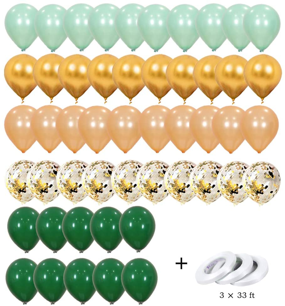 Unicorn Balloons 50 Pack - Confetti Balloons Colorful Party Balloons Set(50 Pcs),Dark Turquois Champagne Golde Balloons and Metal Balloon Latex Balloons with Confetti Balloon for Birthday Decorations