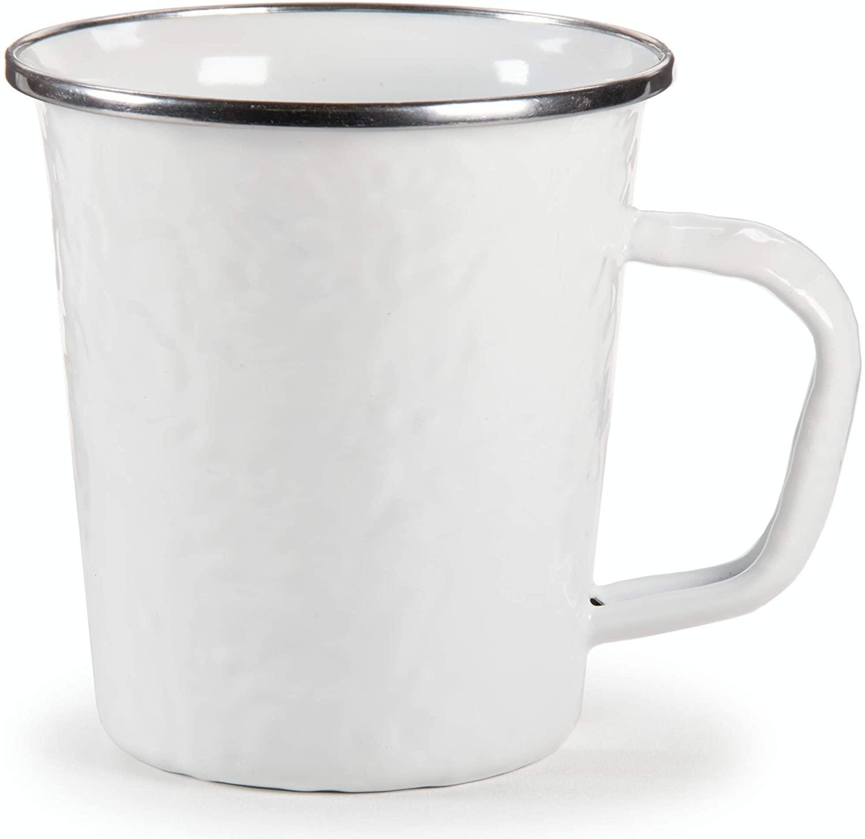 Golden Rabbit Enamelware - White on White Texture Pattern - 16 Ounce Latte Mug
