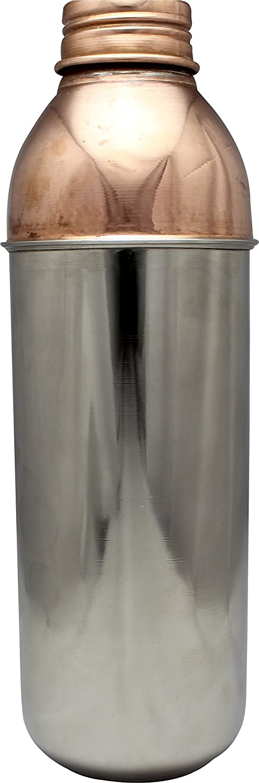 Copper Steel Bottle # No1 Bottle 950 ml Steel Finish by Laxman Copper's Best for Ayurveda & Health