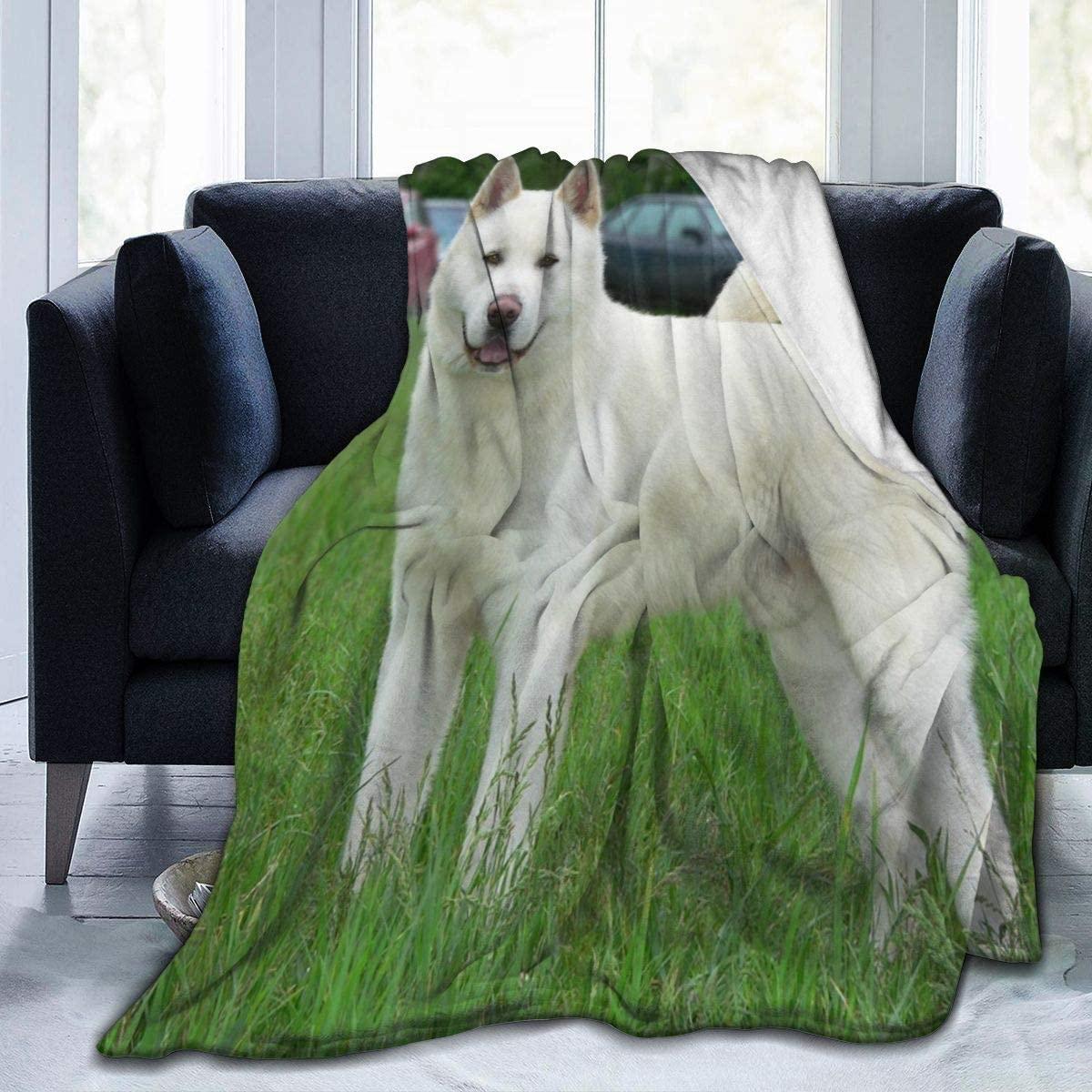 Micro Fleece Plush Soft Baby Blanket Japanese Akita White Dog Fluffy Warm Toddler Bed/Crib Blanket Lightweight Flannel Daycare Nap Kids Sleeping Tummy Time Throw Blanket Girls Boy Clearance