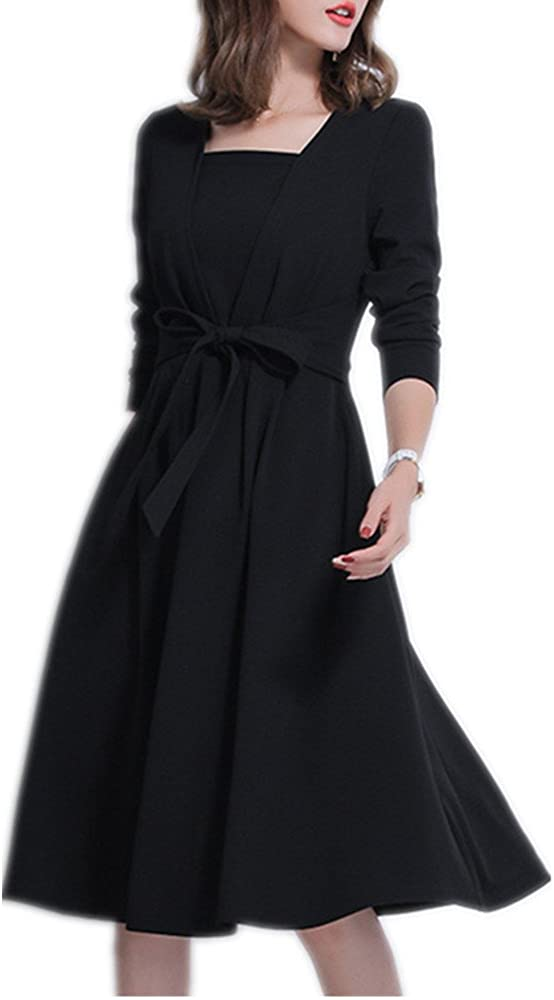Square neck long sleeved knee dress