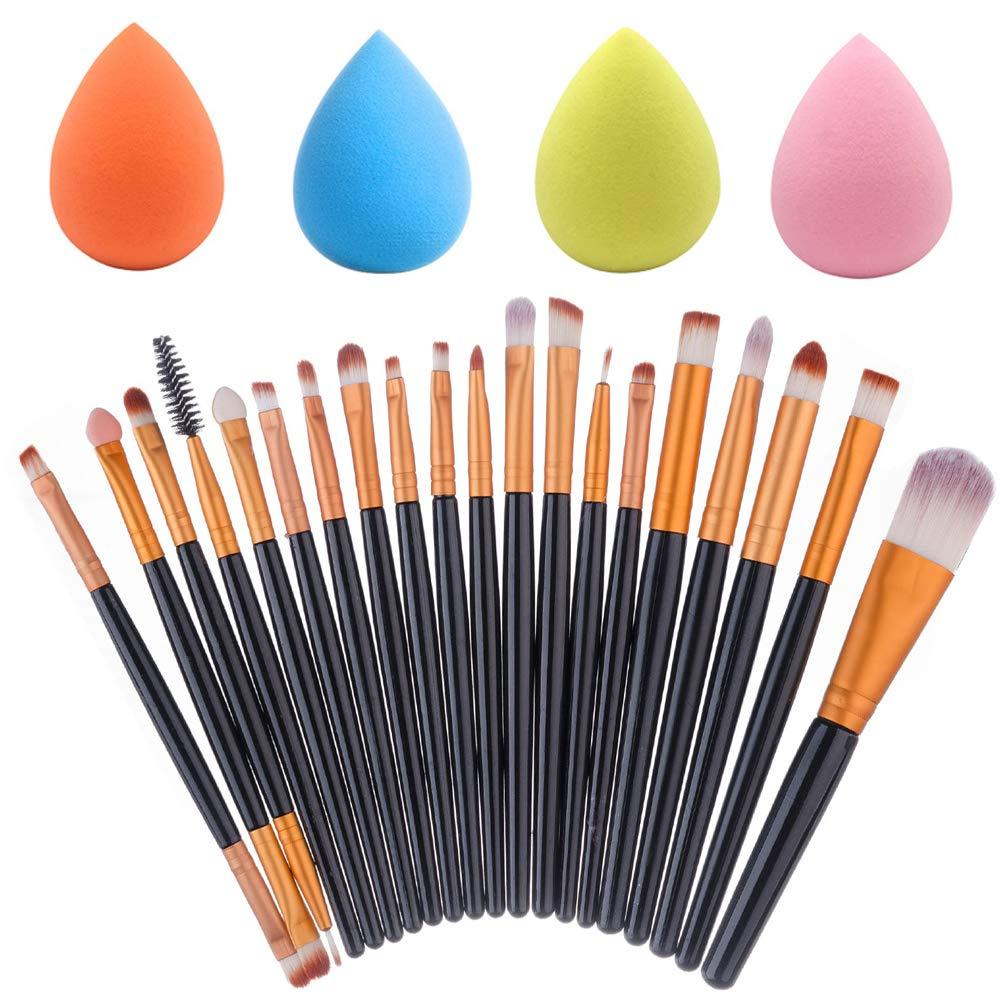 4 Pcs Makeup Sponges with 20 Pcs Makeup Brushes Set, DaKuan 4 Colors Foundation Blending Sponges & Professional Face Eye Shadow Eyeliner Brushes Kit
