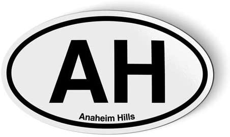 AH Anaheim Hills Oval - Flexible Magnet - Car Fridge Locker - 5.5