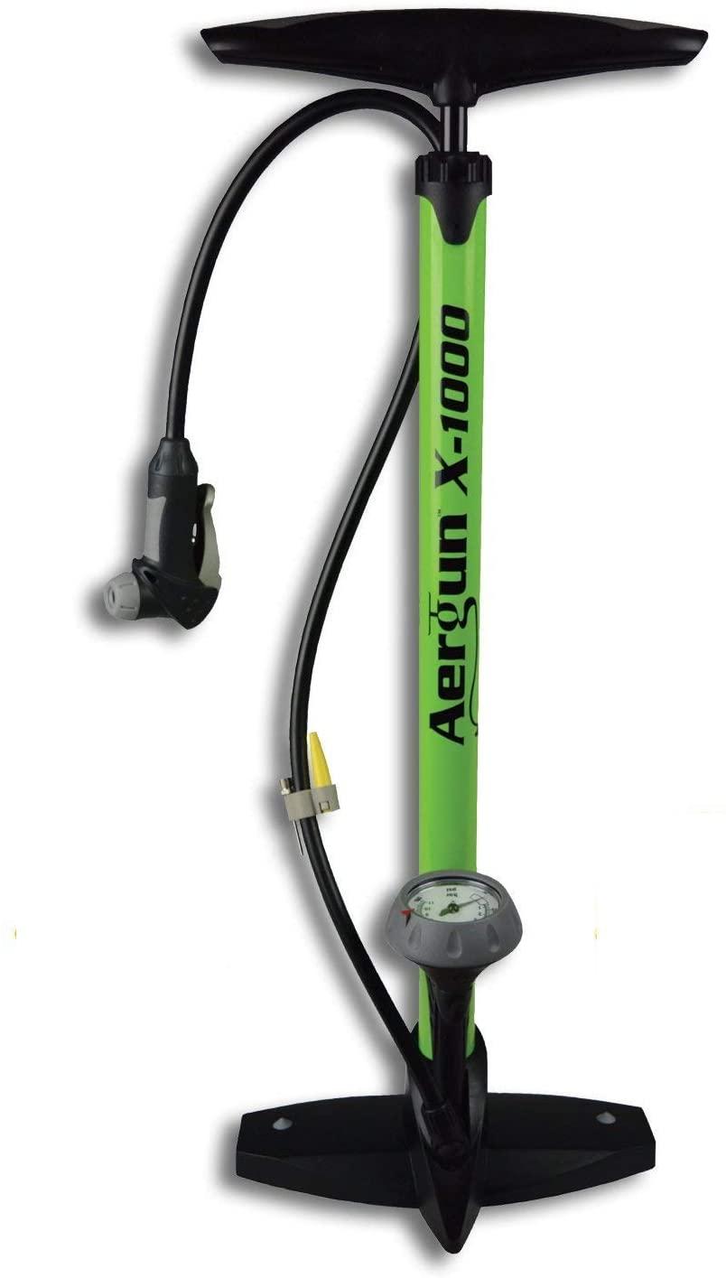 AerGun X-1000 Bike Pump – Unique AerTight Pump Head for Easiest use with Both Presta and Schrader Bicycle Pump Valves – Pressure Gauge – 160 PSI – Plus Bonus: eBook on Tires