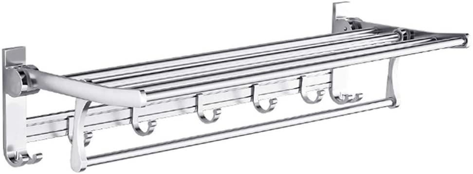Mr. Bathroom Bathroom Shelf Shower Organiser Wall-Mounted Punch Free Towel Rack Toilet Space Aluminum Foldable Hook up Silver