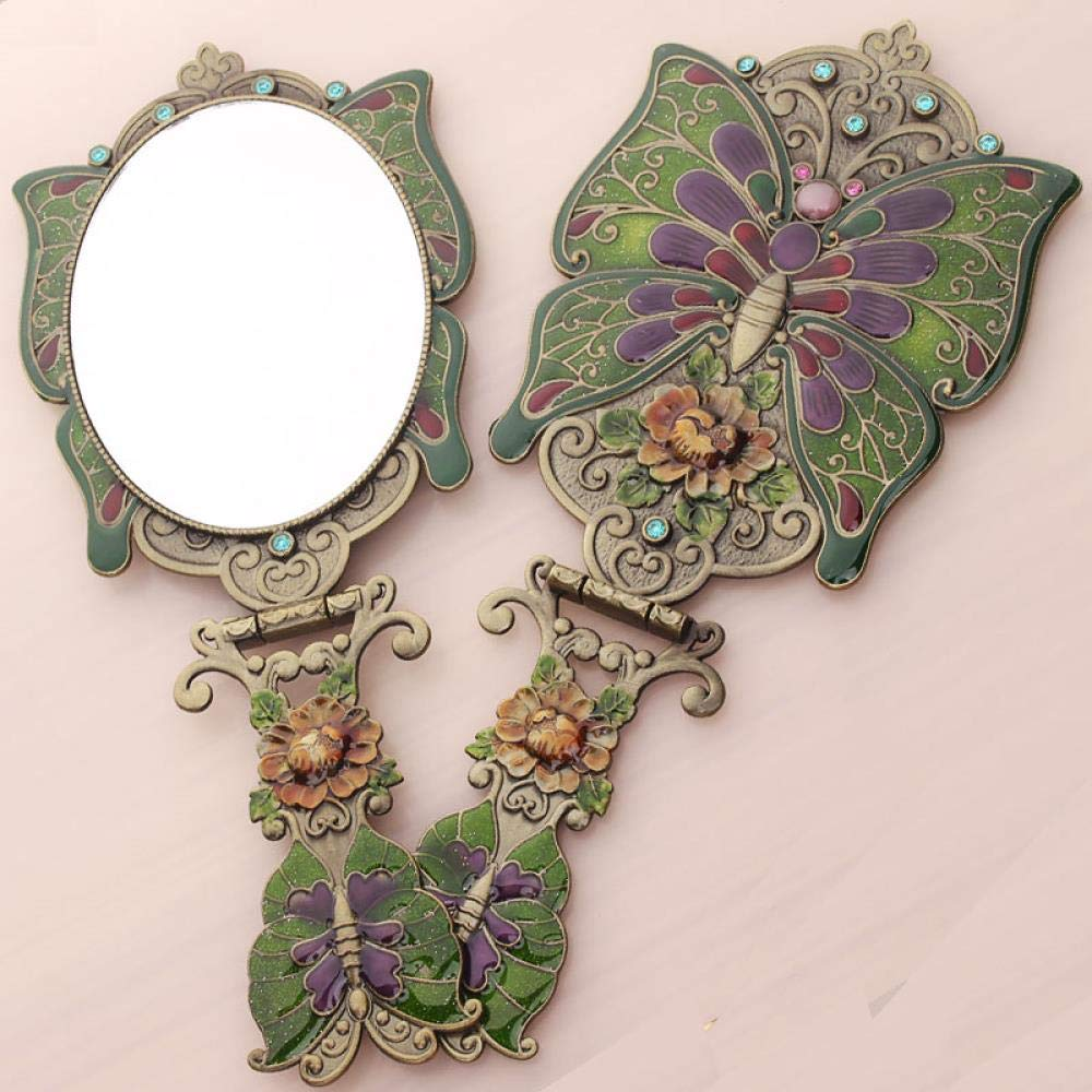 Makeup Mirror Portable Handle Folding Mirror Delicate Fashion Beauty Mirror, Butterfly Blue