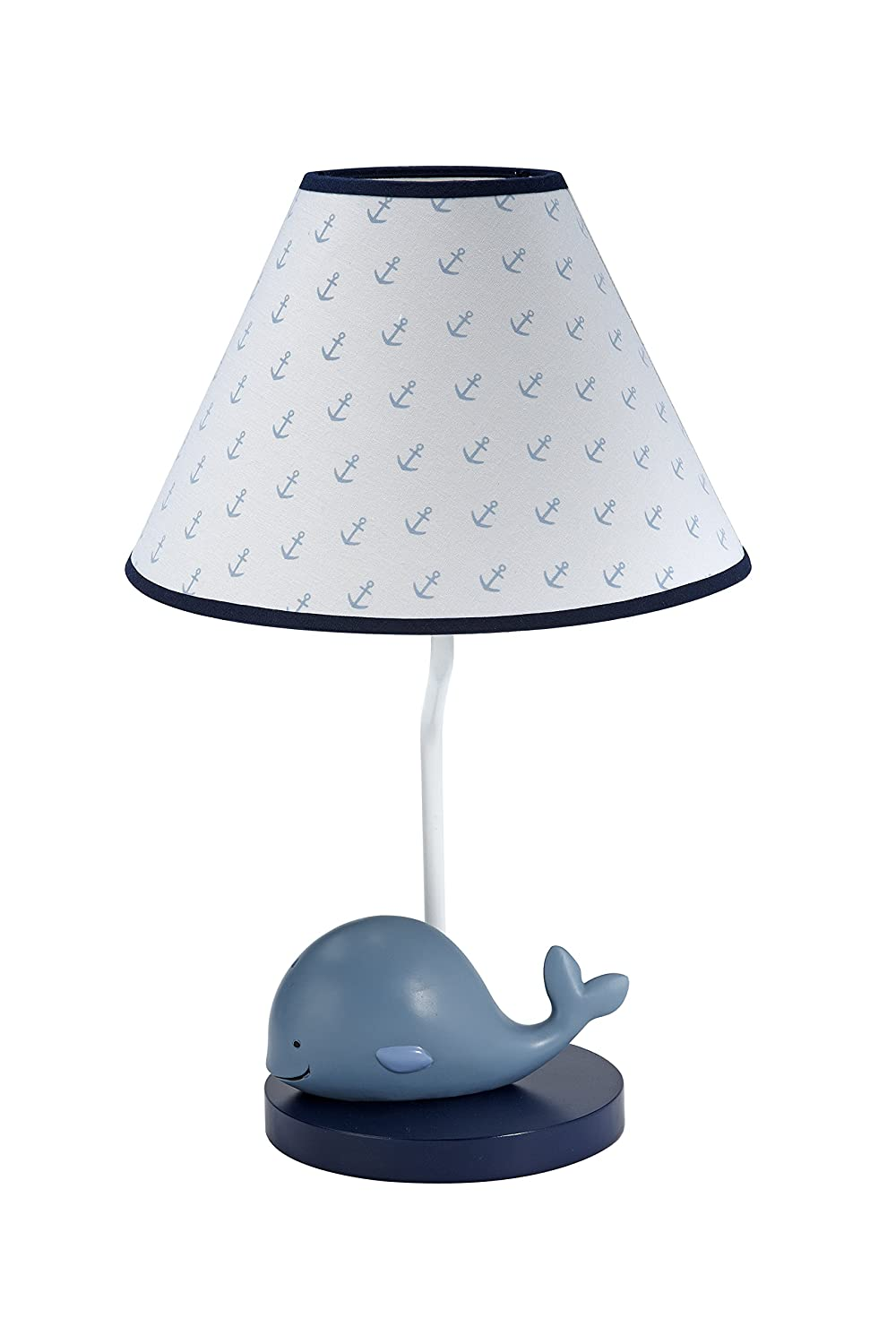 Nautica Kids Brody Nautical/Whale Lamp Base and Shade, Blue/Light Blue/White