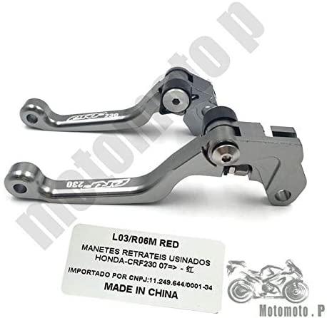 Brakes Motorbike CNC Pivot Brake Clutch Levers Fit for Honda Crf 230 Crf230 2007-2015 Street Bikes Offroad 08 09 10 11 12 13 14 Logo - (Color: Gray)