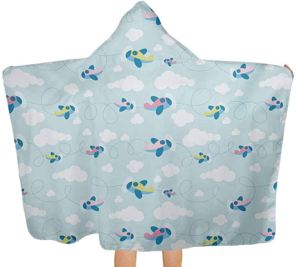 ThinkingPower Hooded Baby Towel Cartoon Style Sky with Airplanes and Clouds Swirls Scrapbook Design Pattern Kids Hooded Beach and Bath Towel Perfect Baby Blue Pink White 51.5x31.8 Inch