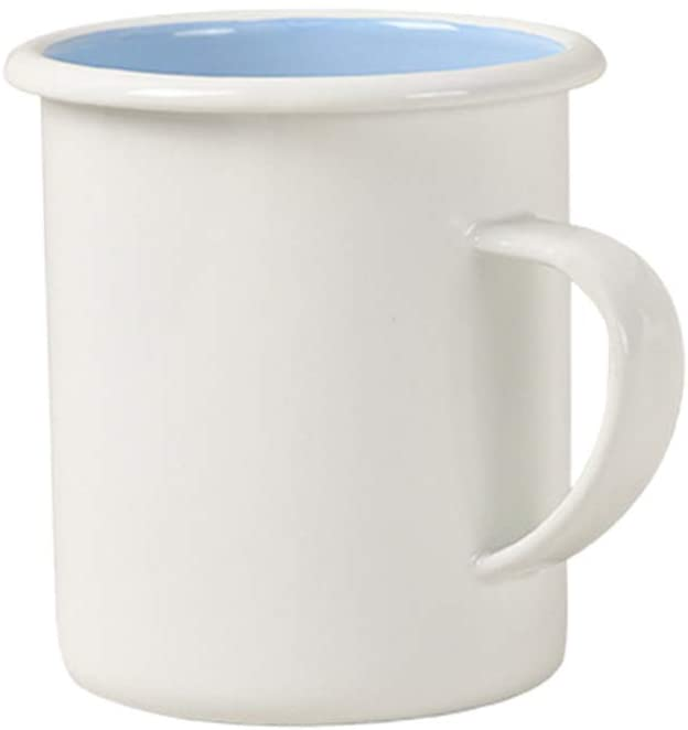 Cabilock Delicate 1Pc Enamel Novelty Mug Cup Simple Enamelled Cup Coffee Cup Water Cup Container (White Outside Sky-Blue Inside)