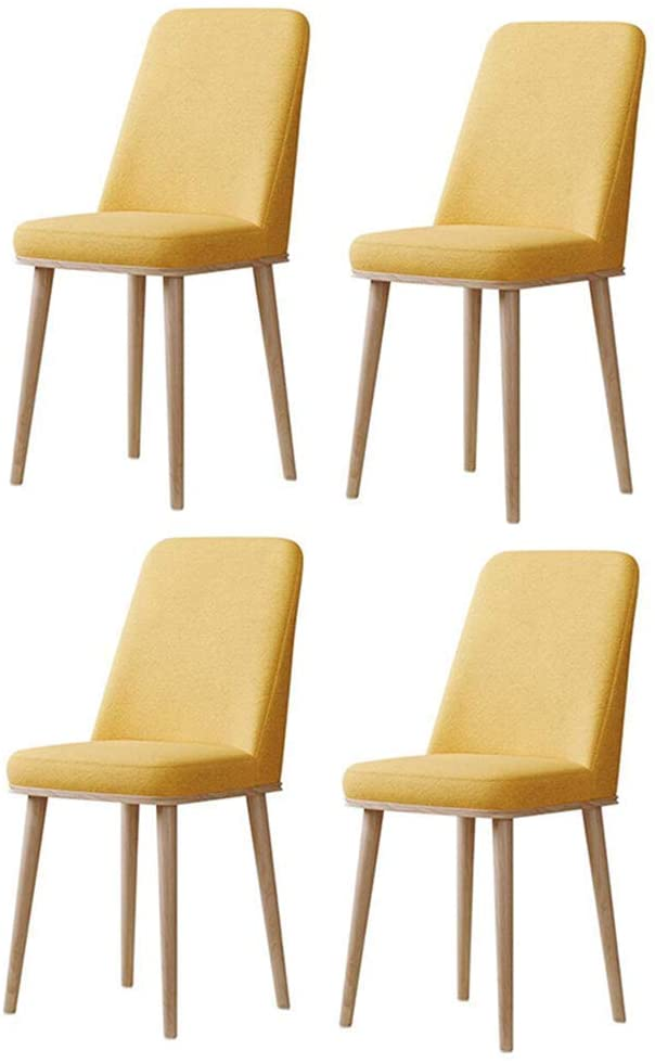 QQXX Dining Chairs Wooden Style Metal Legs, Upholstered Cushion Seat, Kitchen Restaurant, Set of 2/4/6 (Color : 01, Size : 4 Chairs)