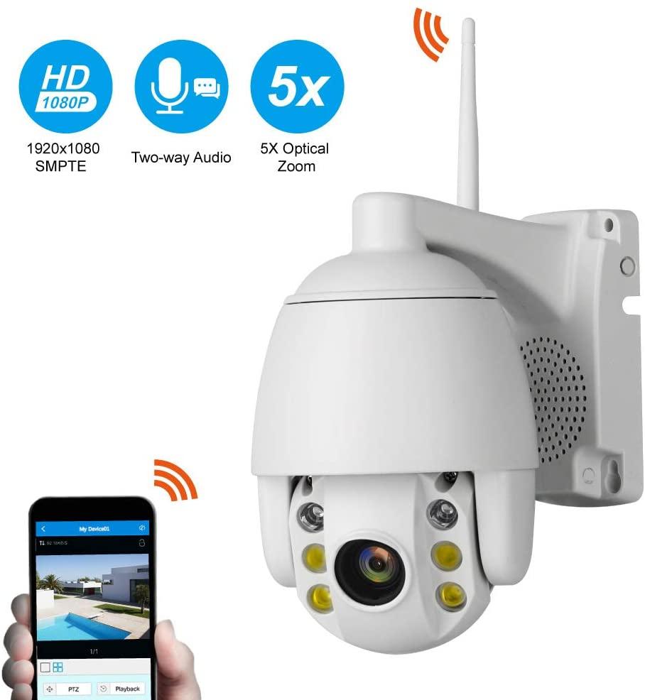 5X Zoom Two-Way Intercom HD 2MP Surveillance Camera Outdoor Waterproof Dome Camera WiFi Remote Monitoring,2MP5xzoom32Gcard