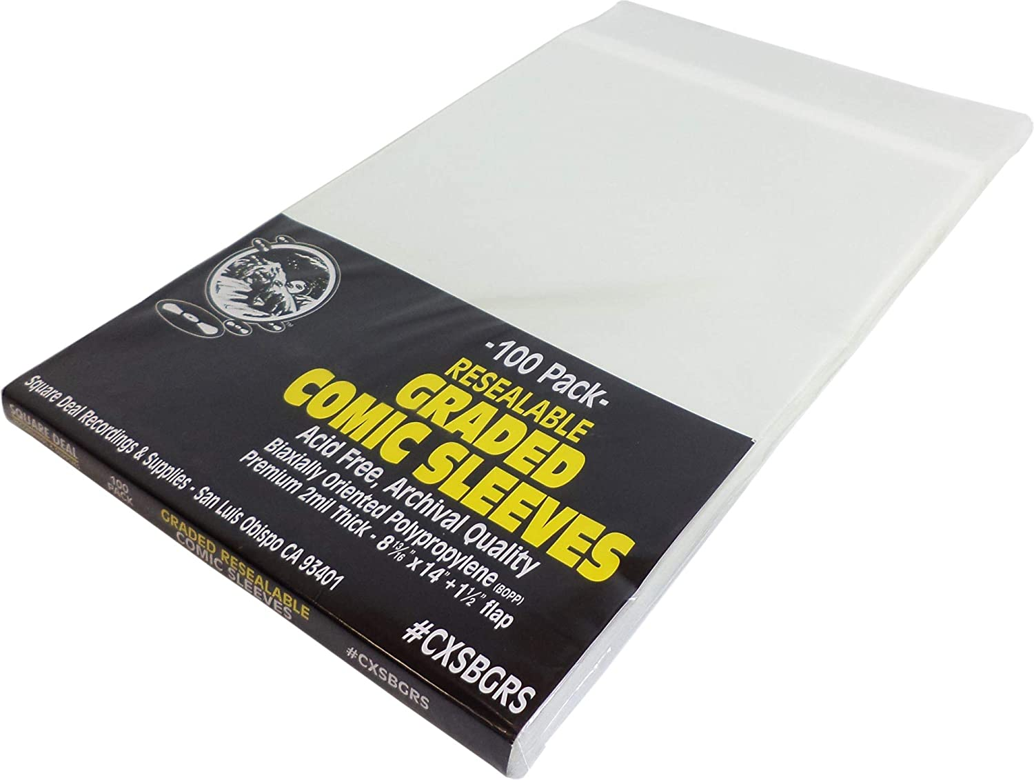 Graded Comic Book Sleeves - Crystal Clear, Resealable, Archival Quality - Set of 100 #CXSBGRS