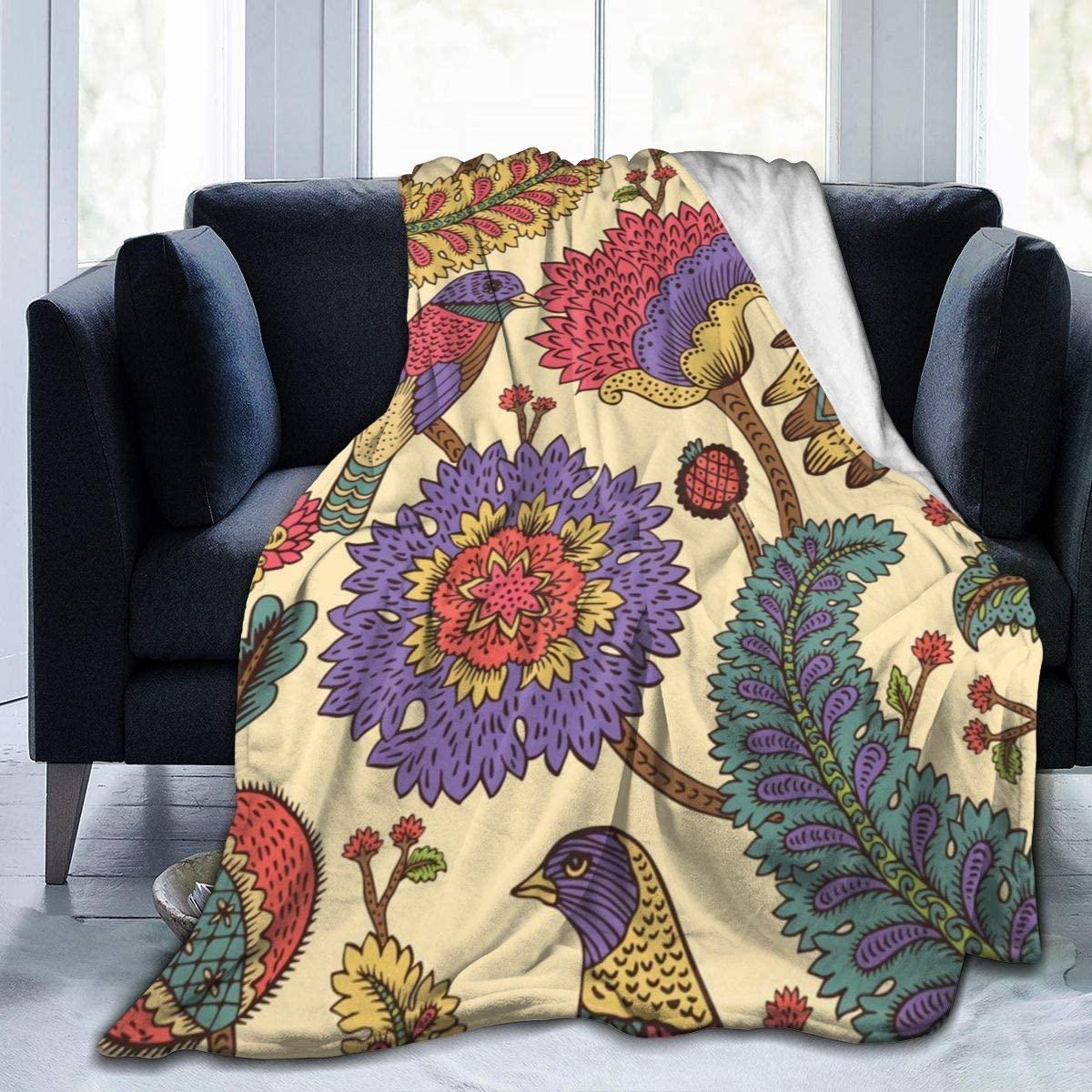 Micro Fleece Plush Soft Baby Blanket Paisley Fantasy Flowers Feather Fluffy Warm Toddler Bed/Crib Blanket Lightweight Flannel Daycare Nap Kids Sleeping Tummy Time Throw Blanket Girls Boy Kid/Baby