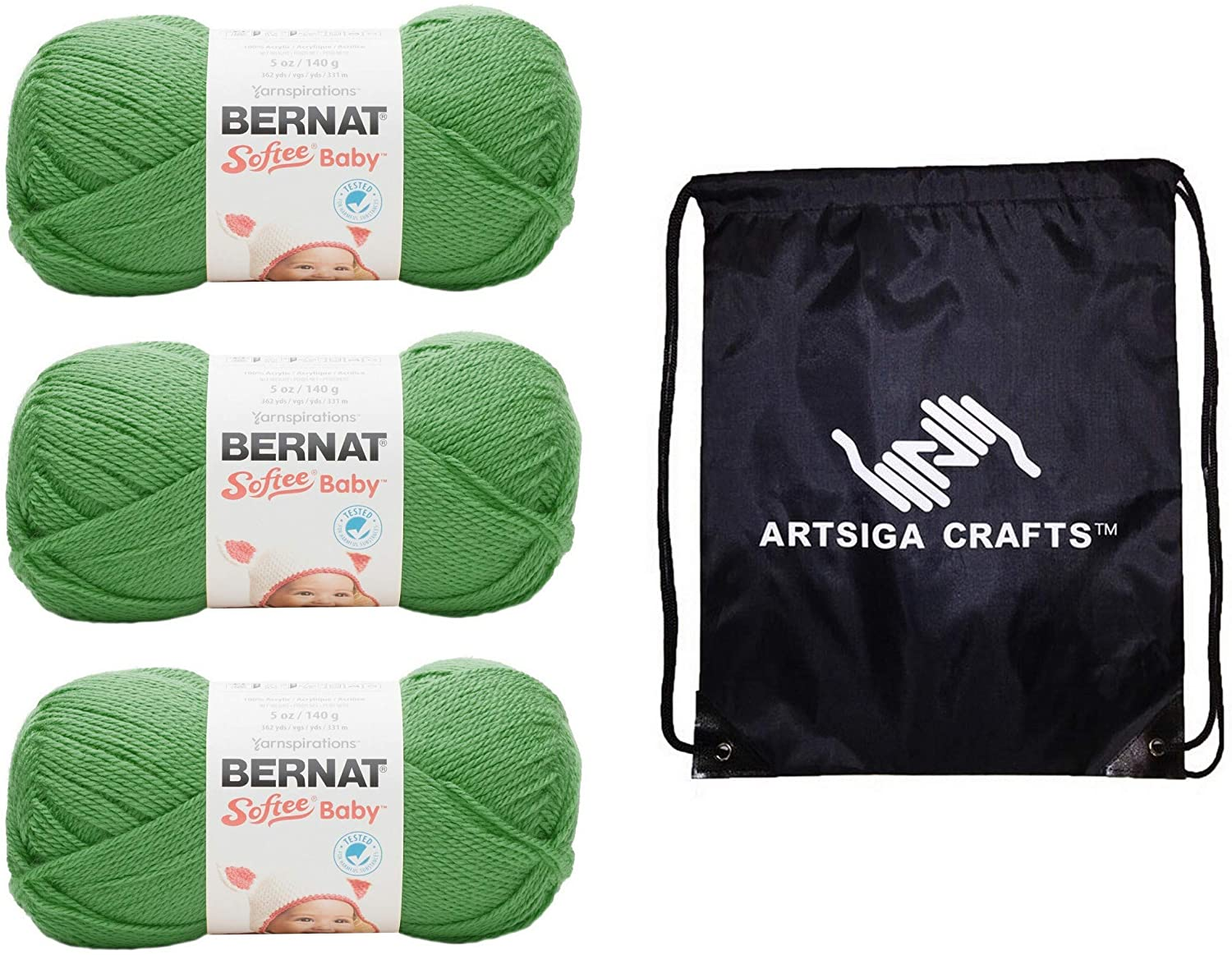 Bernat Knitting Yarn Softee Baby Grass Green 3-Skein Factory Pack (Same Dyelot) 166054-54003 Bundle with 1 Artsiga Crafts Project Bag