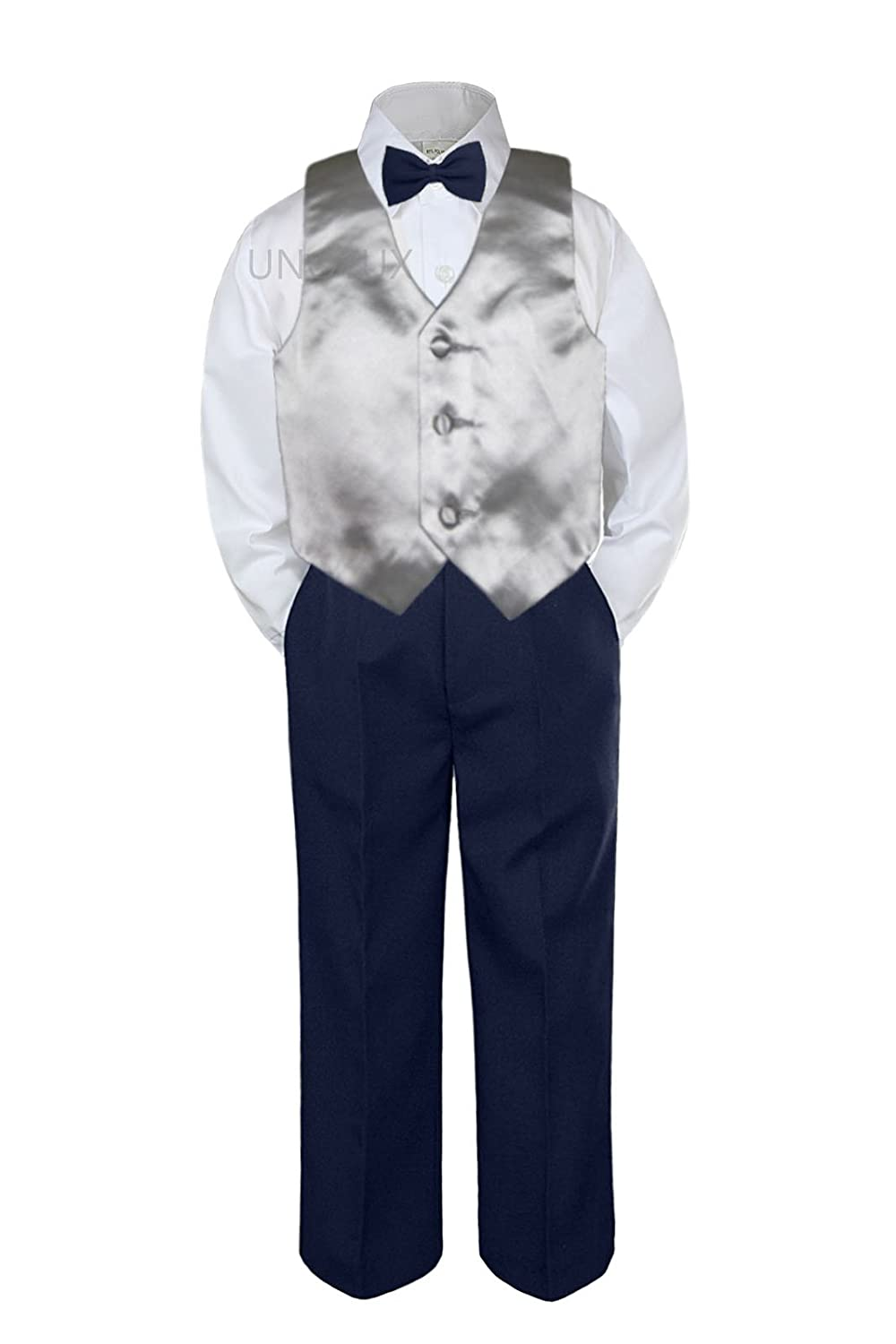 4pc Baby Toddler Kid Boys Silver Vest Navy Blue Pants Bow Tie Suits Set (3T)