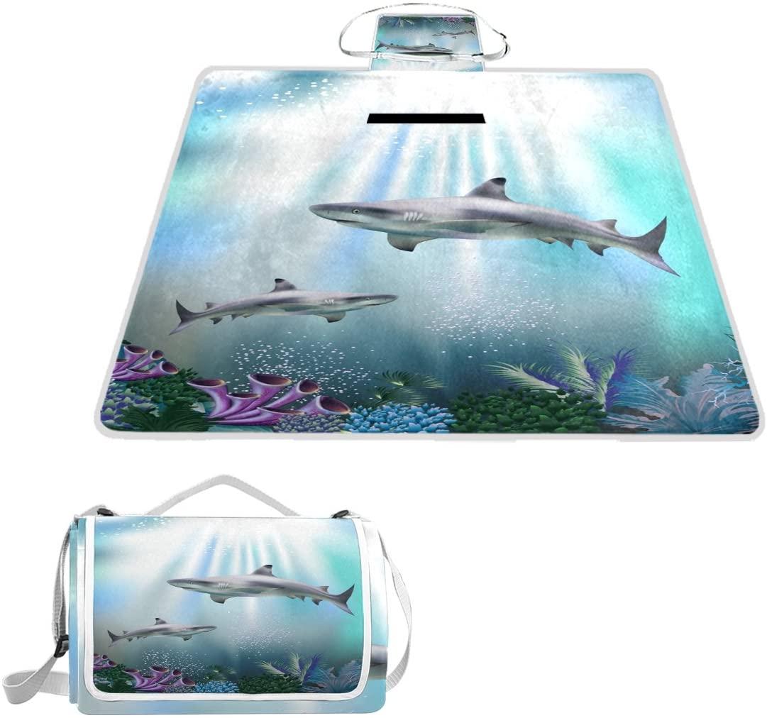 Naanle 3D Shark Animal Ocean Sea Life Picnic Blanket Outdoor Picnic Blanket Tote Water-Resistant Backing Handy Camping Beach Hiking Mat
