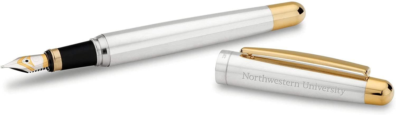 M. LA HART Northwestern University Fountain Pen in Sterling Silver with Gold Trim