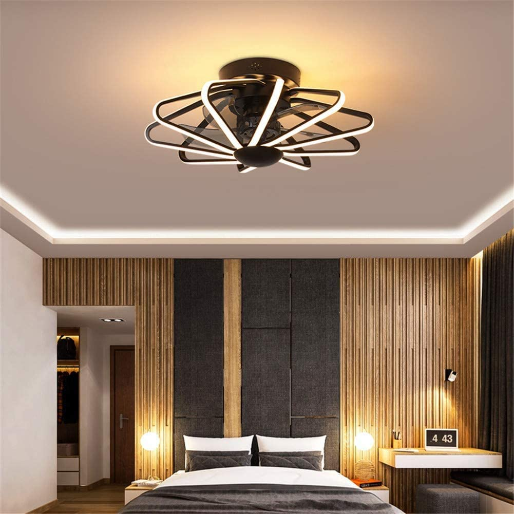 WUAZ Ceiling Fan with Light and Remote Control, Modern LED Adjustable Light Color/Fan Speed, Time Setting, Low Profile Flush Mount Cage Shape Fandelier, 22Inch,Black