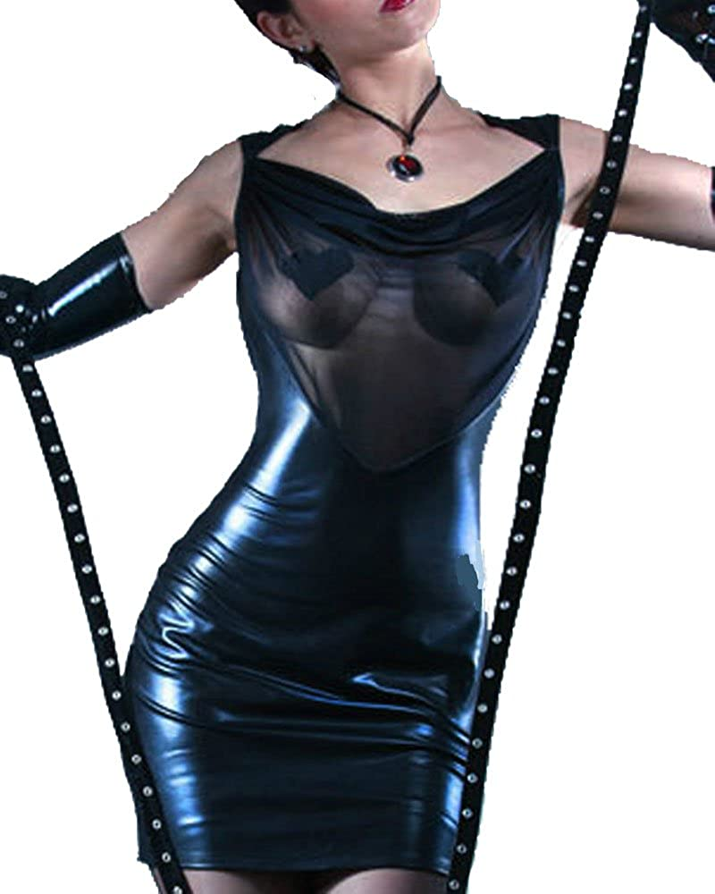 Hot Sexy Women's Deep V-Neck Leather Dress Transparent Mesh Backless Tank Dress Pole Dance Clothes (L, Black)