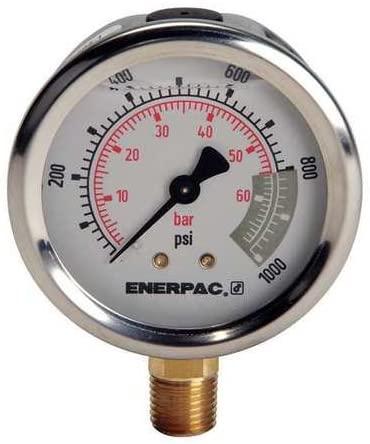 Pressure Gauge, 0 to 1000 psi, 2-1/2In