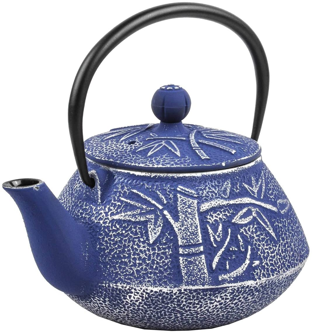 Spigo Yamanashi Cast Iron Enamel With Stainless Steel Infuser Teapot, Blue, 30 Ounces