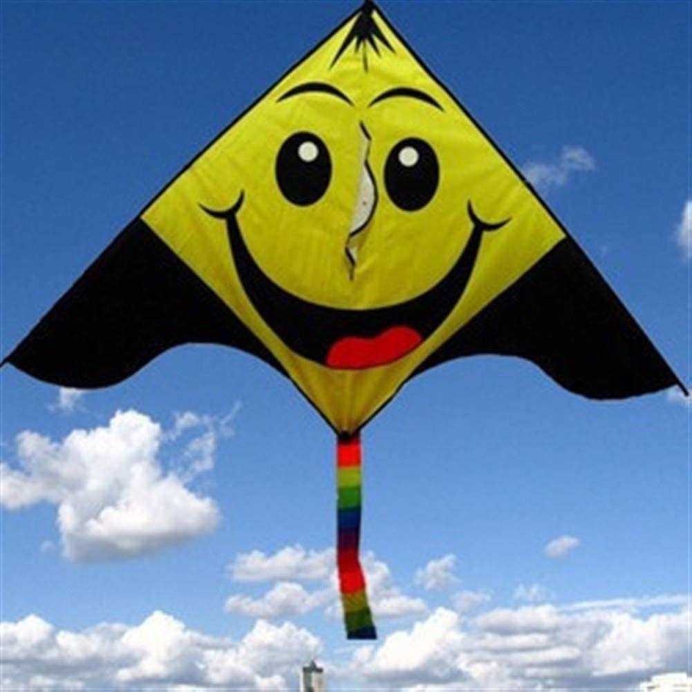 LILIANG Kite, Kids Kite Kites for Kids Easy to Fly with Outdoor Sports Triangle Smiley Kite Breeze (Color : Yellow)