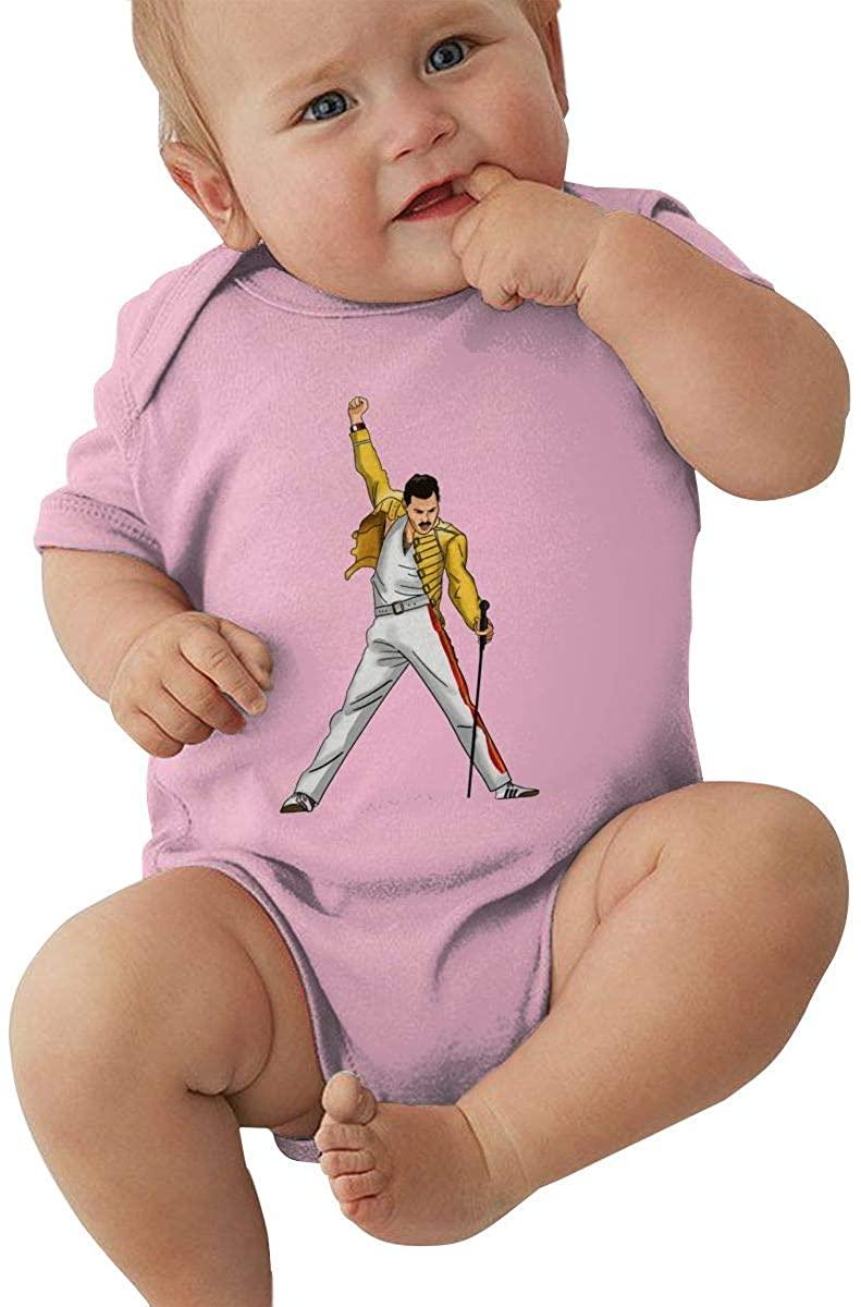 AP.Room 0-24 Months Baby Short Sleeve Creeper Jumpsuit Freddie Mercury Cool Personality Design Pink