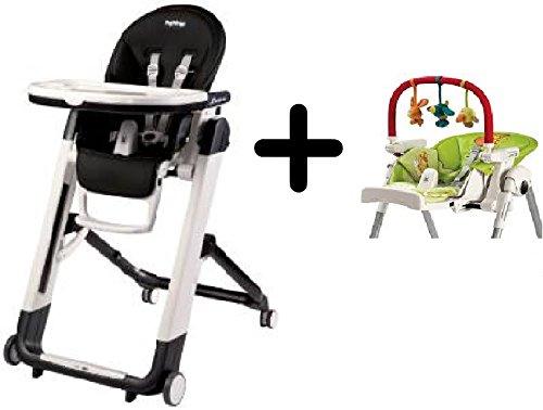 Peg Perego Siesta Highchair, Licorice + Peg Perego High Chair Play Bar