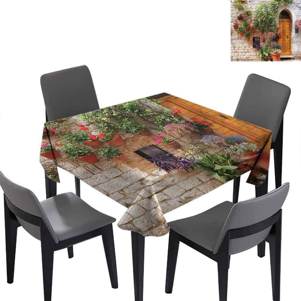 Tuscan Fashions Table Cloth Begonia Plant Wooden Shutter for Holiday Dinner,Wedding,Picnic,Patio,Kitchen 70x70 inch