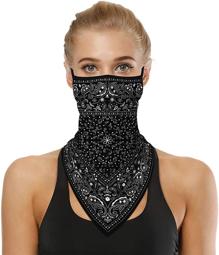 ChinFun Cooling Face Scarf Bandana UV Protection Neck Gaiters with Ear Loops for Men Women Dust Wind Headwear