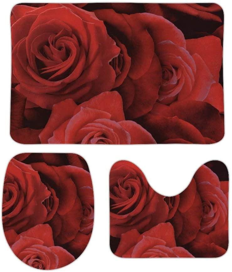 Yilooom 3 Pack Bath Mat Set, Red Rose Floral Flower Absorbent Memory Foam Soft Shower Bath Rugs Contour Mat and Lid Cover,Non Slip Velvet Bathrug,Shower Toilet Bathmats Carpet 16
