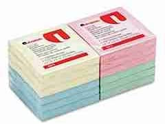 Universal 35619 - Fan-Folded Pop-Up Notes, 3 x 3, 4 Pastel Colors, 12 100-Sheet Pads/Pack