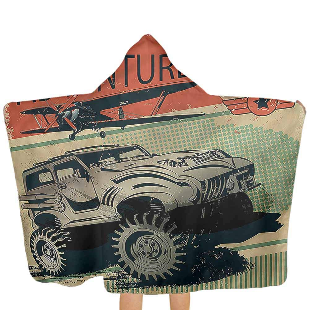 Hooded Beach Towel Adventure Large Hooded Bath Towel for Kids Strong Vehicle Planes for Baby Kids 51x32 Inch
