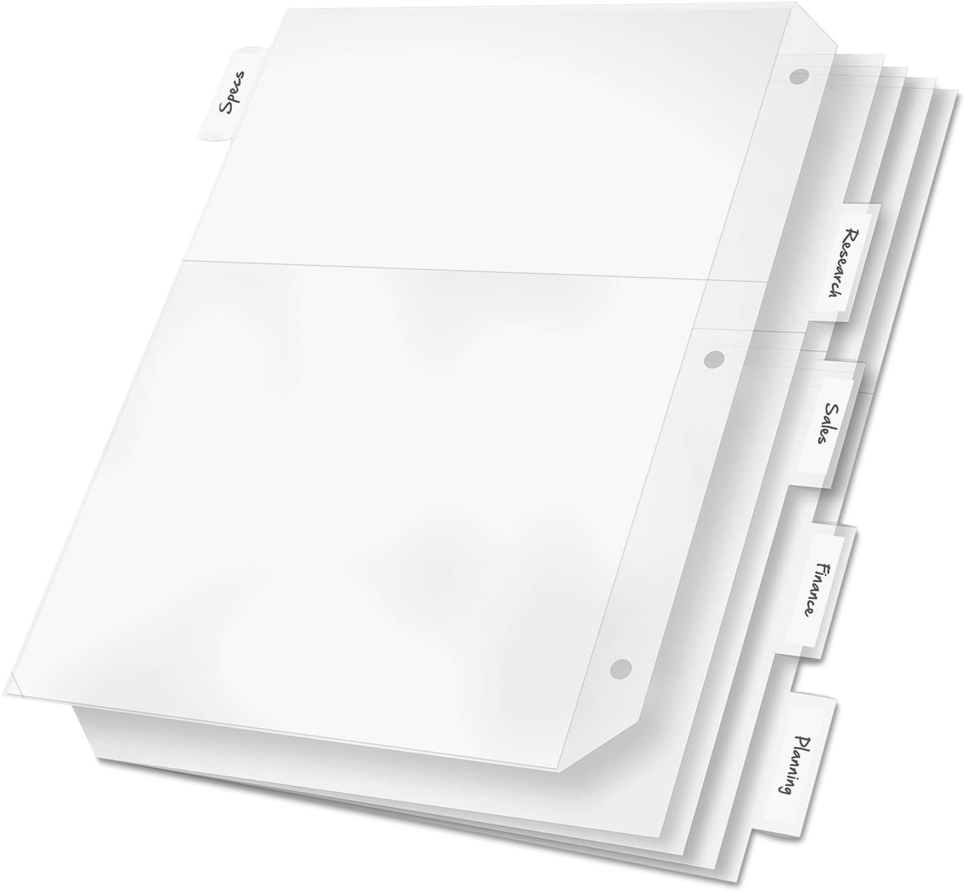 Cardinal 84010 Poly Ring Binder Pockets, 11 x 8 1/2, Clear, 5/Pack