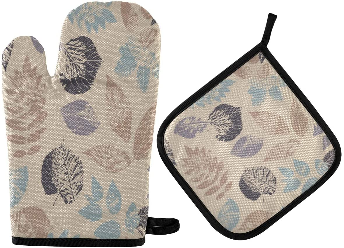 N\ A Amazing Forest Leafs Oven Mitts and Potholder Set-Heat Resistant Oven Gloves to Protect Hands and Surfaces with Non-Slip Grip, Hanging Loop for Handling Hot Cookware Items
