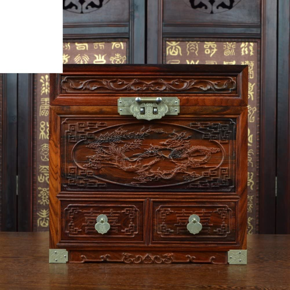 WODESHIJIE Mahogany Wood red Rosewood Mirror Box/Jewelry Boxes/Handicraft-A