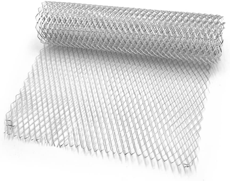 AKDSteel Car Silver/Black Aluminum Alloy Front Bumper Rhombic Grill Mesh Sheet (10x20mm) Silver 10x20mm