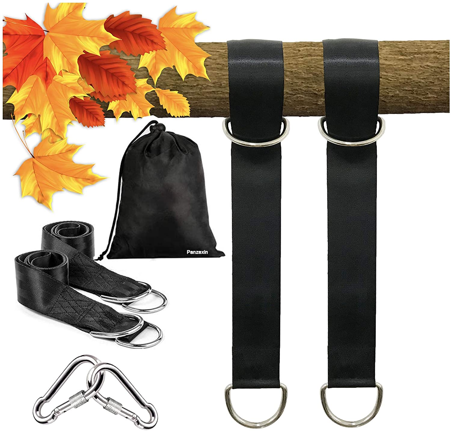 Panzexin Tree Swing Straps Hanging Kit, 4FT, Holds 2600 lbs, 2 Heavy Duty Carabiners Included, Outdoor Swing Hangers-Perfect for Hammocks, Tire and Saucer Swings with Easy Installation (4ft)